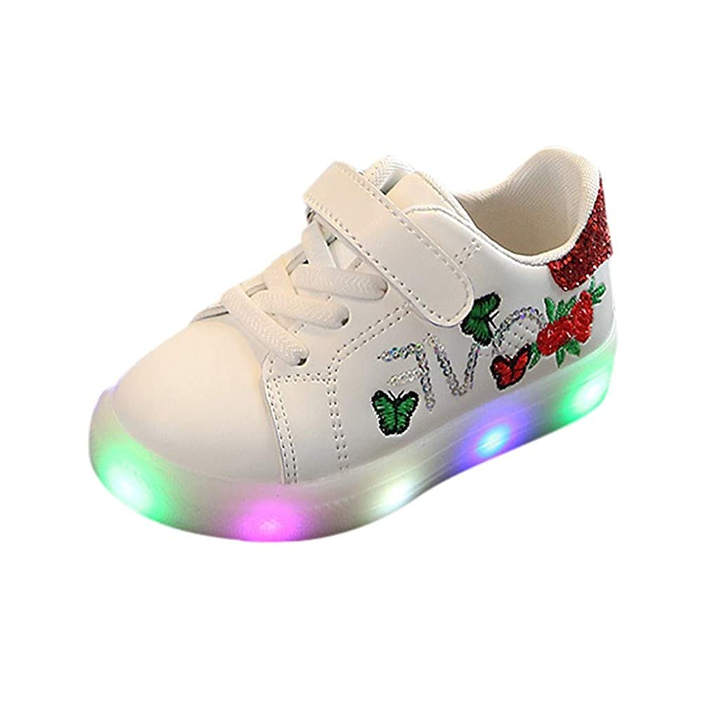 SUNyongsh Fashion Children Shoes Girls Boys Squeins Flower Butterfly Led Light Luminous Sport Shoes