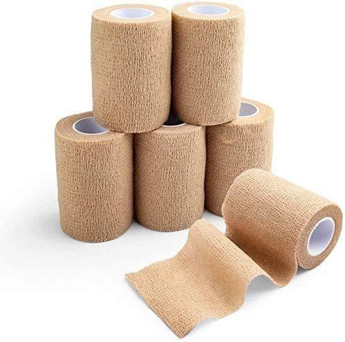LotFancy Haftbandage Selbsthaftende Bandage 6 Rollen, Elastischer Fixierverband, 10 cm x 4,57 m, Erste-Hilfe-Klebeband, für Schwellung und Schmerzen, Hautfarben