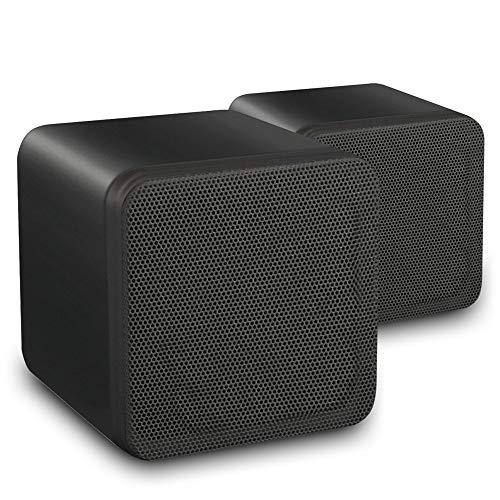 eAudio Pair of Black HiFi Stereo Bookshelf Cube Speakers Home Cinema...