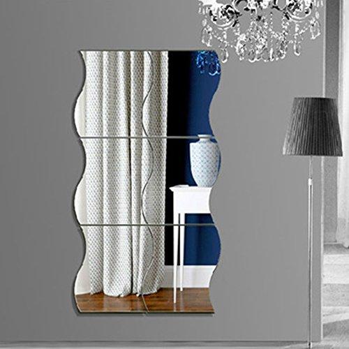 Spiegel Wandaufkleber, DIY 3D Spiegelfolie, Modern Wellenmuster Wohnkultur Wandtattoo Aufkleber Tapete für Wohnzimmer Schlafzimmer(40 * 60cm, 6 Stück)