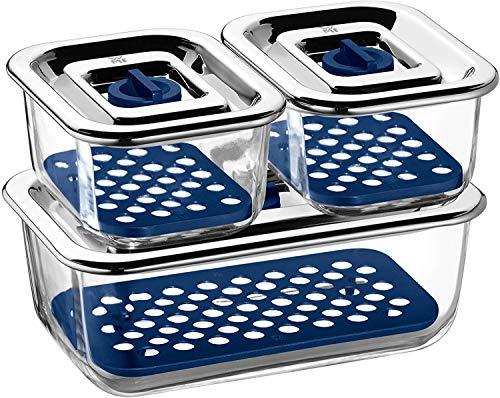 WMF Top Serve Frischhaltedosen Glas Set 3-tlg, Aufschnittbox Glas mit luftdichtem Deckel, Frischeventil, Aufbewahrung Glas mit Abtropfgitter, Käsedose