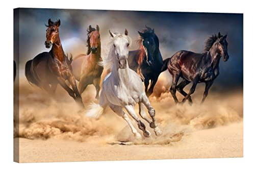 Décoration murale Startoshop, brillent dans le noir, toile murale, peinture murale de chevaux, Chevaux dans un nuage de poussière , Catégorie Animaux, 80 cm x 120 cm