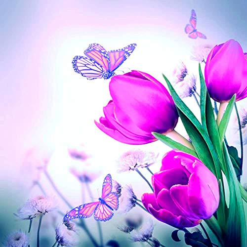 Ambiente Servietten Lunch / Party / ca. 33x33cm Butterfly & Tulips - Schmetterling & Tulpen