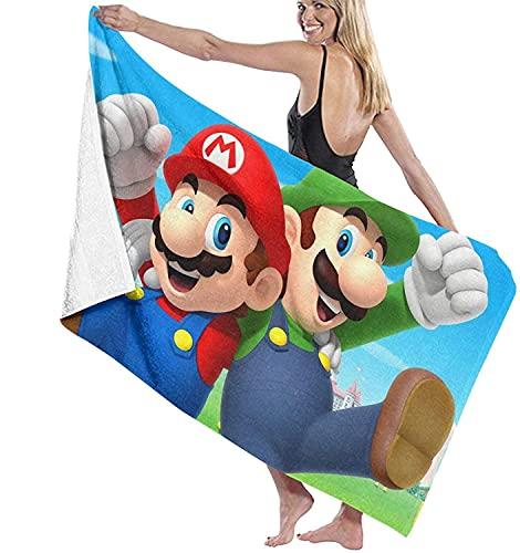 NBAOBAO Super Mario Toalla de playa, Super Mario Bros, muy práctica, absorbente, impresión digital 3D, ligera y de secado rápido (Mario 2,75 cm x 150 cm)