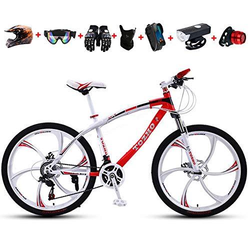 WHYTT Bicicleta Plegable MTB Viajeros 24 Pulgadas 27 Velocidades, Bicicleta MTB Gearshift, Corte y Asiento Ajustable de Acero al Carbono, Adecuada para Viajar en la Ciudad Salvaje,Rojo