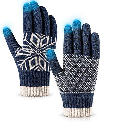 Pvendor Winter Gloves Touch Screen Warm Knit Gloves, Soft Wool Lining Elastic Cuff, Anti-Slip Rubber Design Warm Gloves for Men Women(Blue, OneSize)