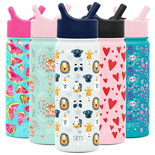 Simple Modern 18oz Summit Kids Water Bottle Thermos with Straw Lid - Dishwasher Safe Vacuum Insulated Double Wall Tumbler Travel Cup 18/8 Stainless Steel -Wild Zoo