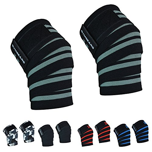 GYMGEARS® Kniebandage [2er Set mit Klettverschluss] Knee Wraps 200cm - Profi Knie Bandagen für Kraftsport, Bodybuilding, Powerlifting, Crossfit & Fitness - Für Frauen & Männer geeignet