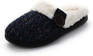 Non Slip Soft Plush Slippers, Women's Fleece Lined Shoes, Home Memory Foam Slippers, Indoor Slippers, Navy,Red,Navy,US8.5/9