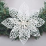 GL-Turelifes Turelfies 12 piezas de flores de árbol de Navidad de 15 cm con 12 piezas de flores verdes suaves con purpurina, flores de pascua artificiales decorativas para árbol (blanco)