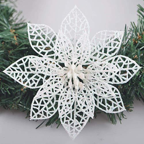 GL-Turelifes Turelfies 12 piezas de flores de árbol de Navidad de 15 cm con 12 piezas de flores verdes suaves con purpurina,...