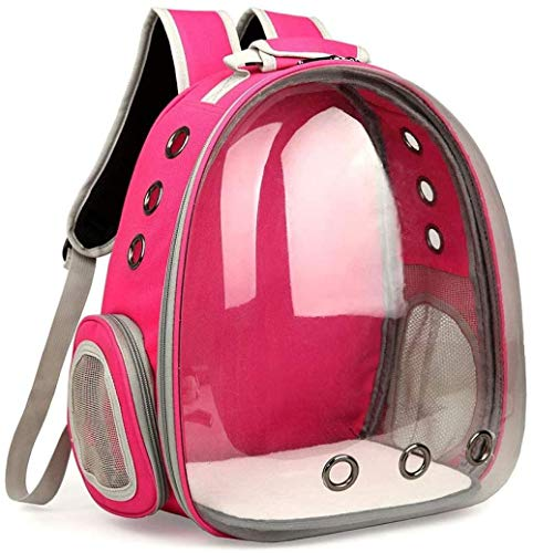RLRL Mochila de Viaje Transparente para Mascotas, cápsula, Bolsa de Viaje para Perros y Gatos, Astronauta Transpirable para Mascotas pequeñas, Rosa Fuerte