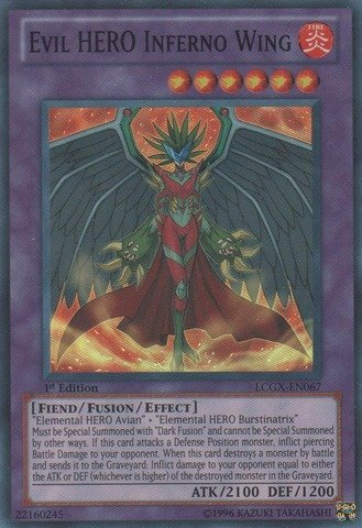 YU-GI-OH! - Evil Hero Inferno Wing (LCGX-EN067) - Legendary Collection 2 - 1st Edition - Super Rare