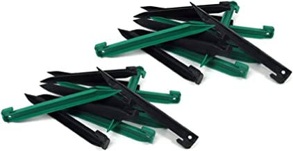 THE UM24 24 Piece Medium Heavy Duty Plastic Tent Nails Stakes Pegs Green/Black/Yellow