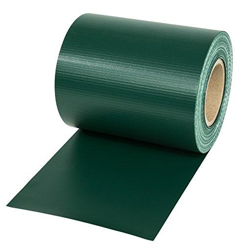 TecTake PVC Sichtschutzfolie Sichtschutzstreifen inkl. Befestigungsclips 450g/m² - Diverse Modelle - (35m grün | Nr. 401864)