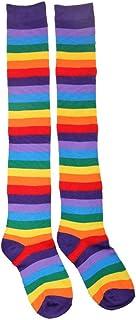 Calcetines Yiwann para mujer, diseño de arcoíris a rayas de colores mixtos, calcetines de punto por encima de la rodilla, algodón acrílico, calentador de piernas, regalo