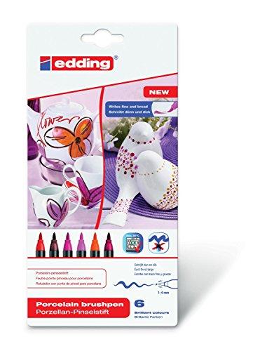 edding 4200 Porzellan Bürste Ben 1–4 mm erhältlich Warm Colour Set, Kunststoff