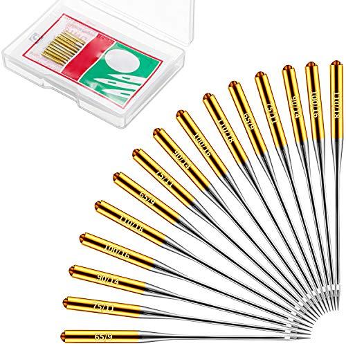 Lot de 50 aiguilles pour machine à coudre domestique - Taille 9, 11, 14, 16, 18 - Compatibles avec Singer, Brother