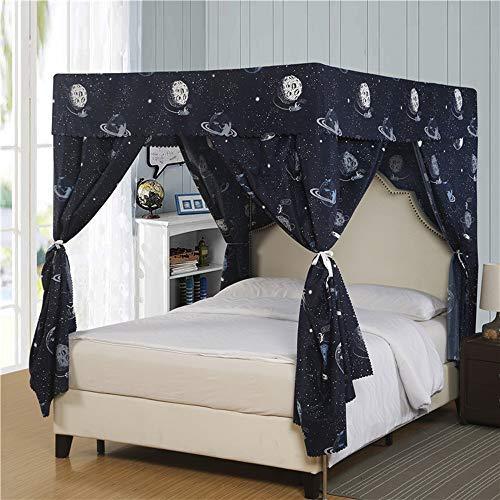 Cortina Mengersi de quatro cantos para meninos e meninas com moldura para cama King Navy Galaxy