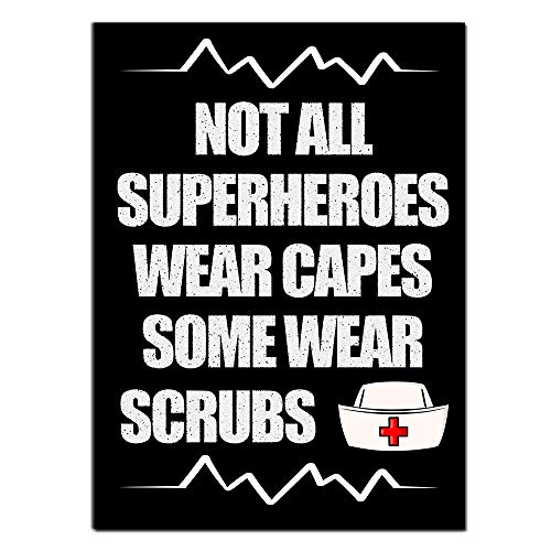UCUDI Nurse Gifts for Women or Men Nurses Sign Decor Not All SuperHeroes Wear Capes Some Wear Scrubs 8 x 12 Inch Nursing Plaques