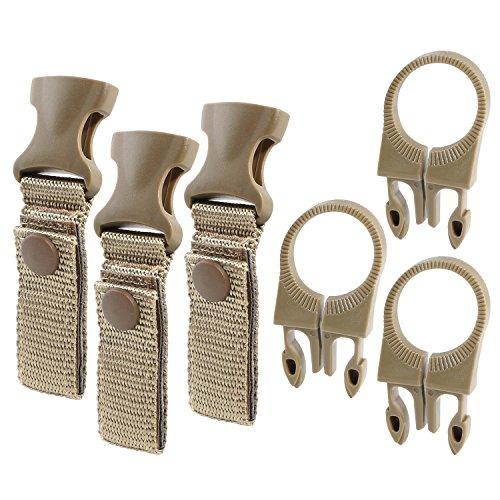 FJROnline Schnalle / Clip zum Aufhängen von Wasserflasche und die Verwendung im Außenbereich, zum Campen und Wandern, aus EDC-Nylon, 3 Sets, Herren, khaki