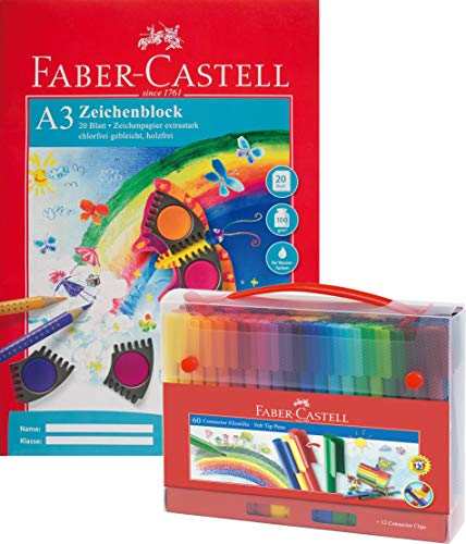 Faber-Castell 155560 Filzstift Connector in Koffer, 60-teilig (60er + DIN A3 Zeichenblock)