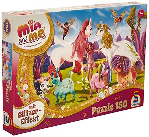 Schmidt Spiele GmbH- Mia & Me-Puzzle Glitterato con Unicorno Pony, 150 Pezzi, 56247