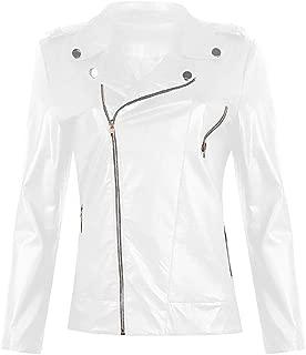 Women's Jacket, Long-Sleeved PU Slim Fashion Punk Motorcycle Leather Jacket Casual Winter Zipper Pocket Jacket,d,S