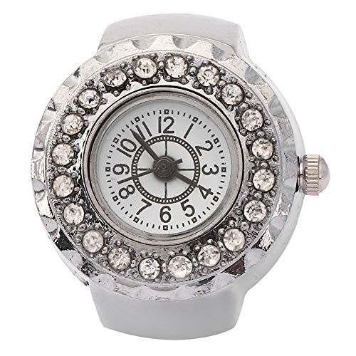 【𝐍𝐞𝒘 𝐘𝐞𝐚𝐫 𝐆𝐢𝐟𝐭】 Reloj de Anillo Brillante, Reloj de Anillo de Cuarzo con Dedo de Diamantes de imitación de Moda Informal, Chicas Hermosas de aleación para Mujeres(Silver)