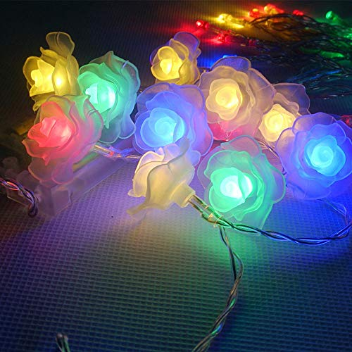 LED Lights LED String Lights Rose Colorful Christmas Lights Battery Operated for Valentine Wedding Party Garland Decoration