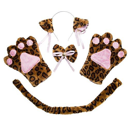 ECOMBOS - Accesorios para disfraz de gato, orejas de gato, pajarita, cosplay para gatos, disfraz de animales, para fiestas, disfraces, cosplay, Halloween, niñas y niños leopardo Talla única
