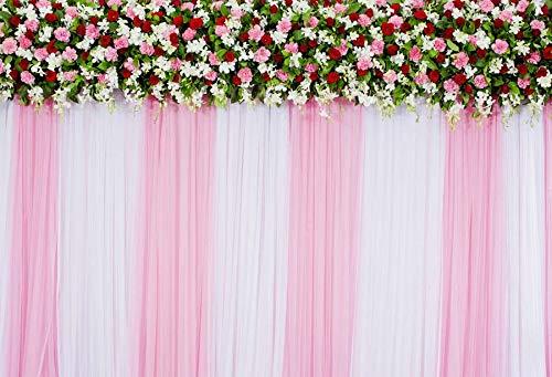 Mehofoto - Cortina de telón de fondo con diseño de flores de color b