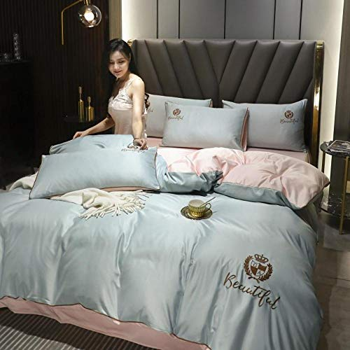 Goodlife-1 Comfort Lujoso Juego de sábanas Cubierta de Matrimonio Doble Transparente Satinado, Hoja Ajustada o Colcha y 2 Funda de Funda de Almohada-Azul Oscuro_Cama 90 / 120cm