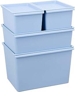 Boîte de rangement XIAOXIAO Vêtements Petite Boîte Snacks Boîte De Tri Couverte en Plastique pour Vêtements (Color : Blue)