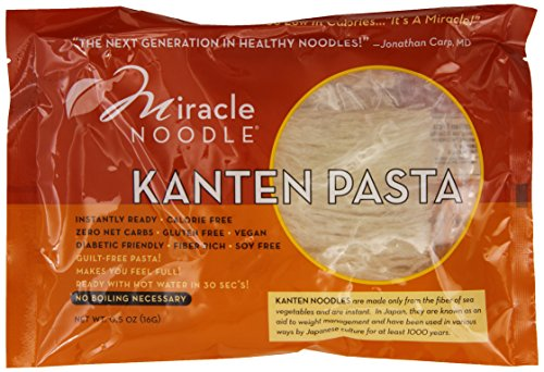 Miracle Noodle Kanten Pasta - Gluten-Free Kanten Noodles, Zero Carb, Calorie Free, Vegan, Fiber Rich, Soy Free - Guilt Free Pasta That Makes You Feel Full - 0.5 Ounce