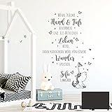 Wandtattoo Babyzimmer Spruch Zitat & Schmetterlinge Kinderzimmer Wanddeko Wandgestaltung mit Namen & Datum M2339 - ausgewählte Farbe: *dunkelgrau* ausgewählte Größe: *M - 54cm hoch x 80cm breit *
