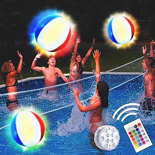 Pool Toys 18' LED Beach Ball Toy with 16 Colors Lights, Pool Games Beach Party Outdoor Games for Teens Adults Family (1PC)