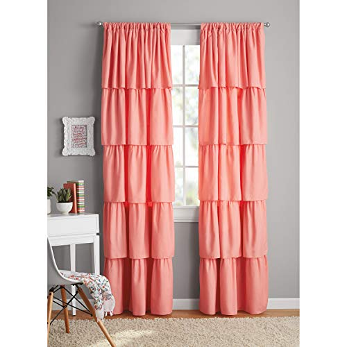 Your Zone Ruffle Girls Bedroom Curtain 42x84 Coral