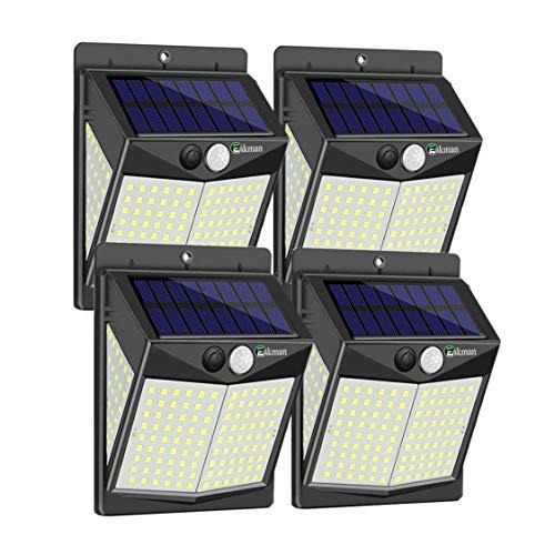 Enkman Solarlampen für Außen [4 Pack / 3 Modi / 140 LEDs] Drahtlose Bewegungssensor-Außenleuchten mit Weitwinkel IP65 Wasserdicht für Deckpfosten Tür Hof Garten Garten Patio Hof Deck Garage Zaun Pool