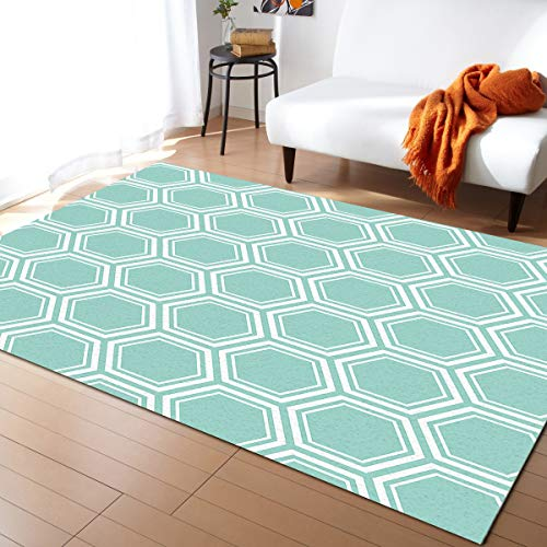 Teal White Area Rug for Kids Play Room, Warm Soft Felt Fabric, Large Rug Decoration Rugs Baby Care Crawling Carpet 2' x 3' Modern Geometric Hexagon