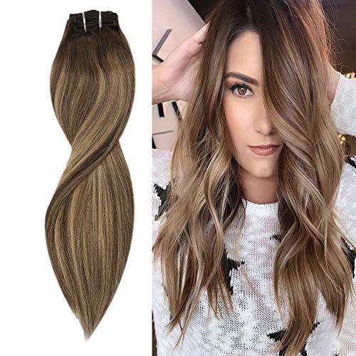 Sunny Extention Cheveux Naturelles Clip Brun Foncé Ombre mixte Blond Caramel Balayage Extension Clip 100% Naturel Clip in Extension Human Hair 7pcs/120g, 22 Pouces