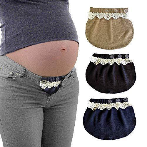 kangyh Cinturón para el Vientre Combo Maternity Belly Band Pantalones elásticos Ajustables Mujeres Embarazadas Solución para Embarazadas