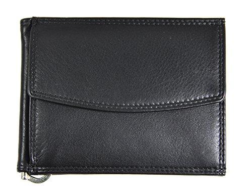 Jockey Club echt Leder Dollar Clip Geldklammer Geldbörse mit Münzfach Kreditkartenetui mit RFID Schutz Jockey Club Nappaleder schwarz