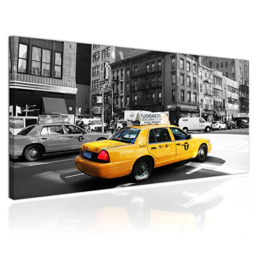 Topquadro XXL Wandbild, Leinwandbild 100x50cm, Gelbes Taxi, Schwarz Weiß, New York Manhattan, Gebäude, Moderner Stil - Panoramabild Keilrahmenbild, Bild auf Leinwand - Einteilig