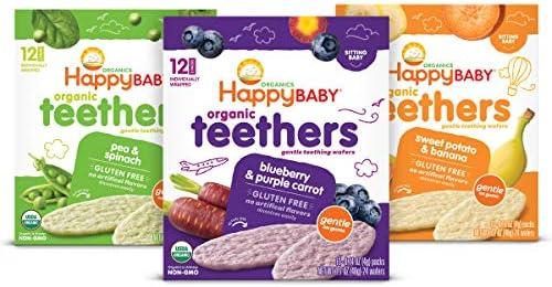 Happy Baby Organic Teethers Gentle Teething Wafers 3 Flavor Sampler Bundle 1 Pea Spinach Teething product image