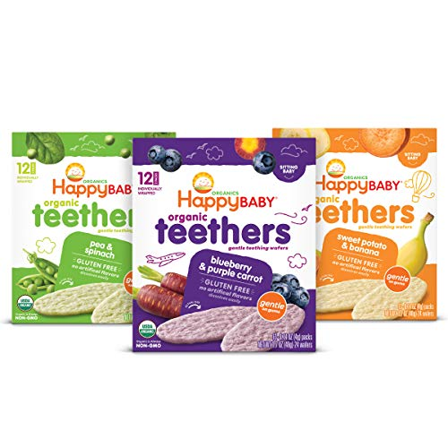 Happy Baby Organics Teether, 3 Flavor Variety Pack, 12 Count (Pack of 3)