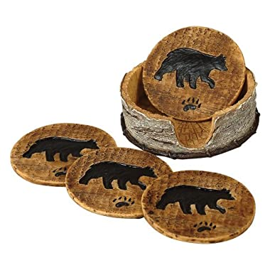 Bear and Birch Lodge Coaster Set - 5 pcs - Wilderness Dining Tableware