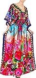 LA LEELA Women's Maxi Kaftan Night Gown Swimsuit Cover Up US 14-22W Multi_V538