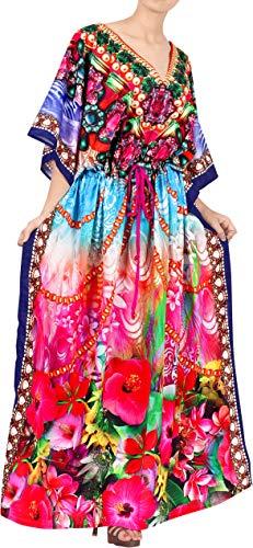 Women's Likre 3D Floweret Beach Long Evening Dress Caftan DESIGNER Pink L-...