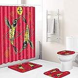 Vlejoy Set De Baño Cortina De Baño con Estampado De Pájaro Rojo, Inodoro, Cortina De Ducha, 4 Piezas